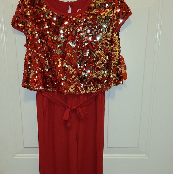 NWT Wonder Nation Red Sequin Jumpsuits Girl 6//6x,7//8